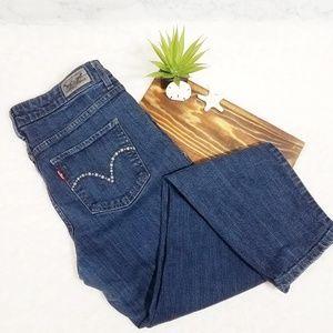 Levi's Embellished Mid Rise Skinny Jeans